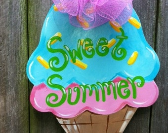 Summer Ice Cream Wooden Door Hanger