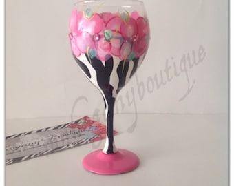 Zebra & Pink Flowers Wine glass