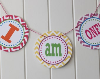 PREPPY CHEVRON Highchair Banner 1st Birthday Party Bright Colors - Party Packs Available