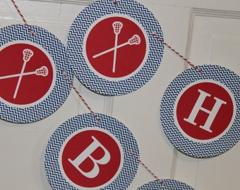 LACROSSE Happy Birthday Baby Shower Banner You Pick Colors - Party Packs Available