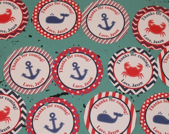 NAUTICAL  Baby Shower or Birthday Favor Tags or Stickers 12 {One Dozen} Red White Navy Whale Crab Anchor - Party Packs Available