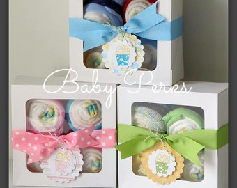 SALE ,Baby Onesie Gift Set, Baby Gift, Baby Shower Decorations, diaper cupcake ,  baby diaper cake, Baby girl