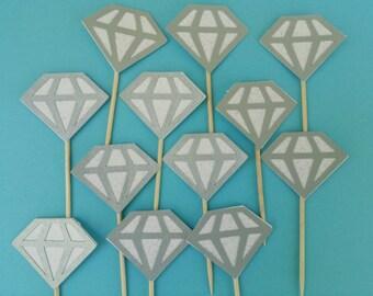 12 Diamond cupcake toppers