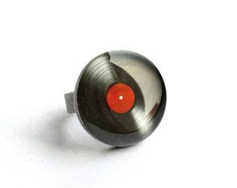 Vinyl record ring,  LP ring, Music ring, retro ring