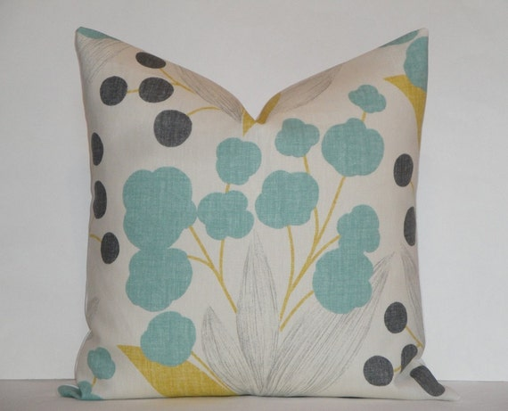 Throw Pillow Covers 25x25 : Items similar to EURO SHAM - Kravet - 25x25, 24x24 Berry Floral in Aqua Decorative Pillow Cover ...
