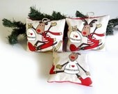 Christmas fabric decoration with reindeers for tree decoration