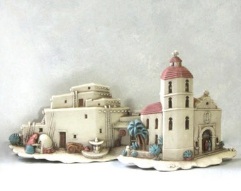 Hacienda and Spanish Mission Wall Art Dusty Rose and Blue Dimensional Mexican Scenes Burwood