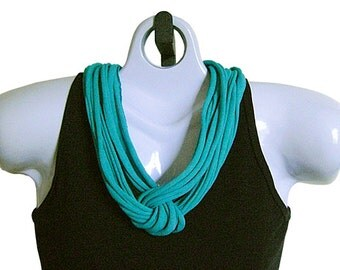 FABRIC NECKLACE, Bright Jade Green, Upcycled T-shirt fabric. Ready to Ship. (See Pic #4 for Optional Styling)