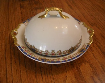 3 Piece Antique France Limoges Covered Butter Dish with Ice Insert Trimmed in Gold