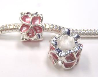 3 Beads- Pink Enamel Flower Silver European Bead Charm E1159