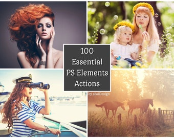 100 PSE Actions Instant Download for PS Elements & Photoshop for wedding, portrait, nature, fashion, holiday, baby or product photographs