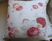 Pair of Shabby Chic Vintage Faded Roses with Ticking Pillow cover