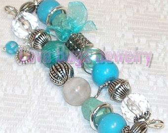 Turquoise - Beaded Interchangeable Watch Band, Turquoise, Clear and White Beaded Interchangeable Watch Band