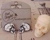 Anatomical Human Skull Shrink Plastic Earrings