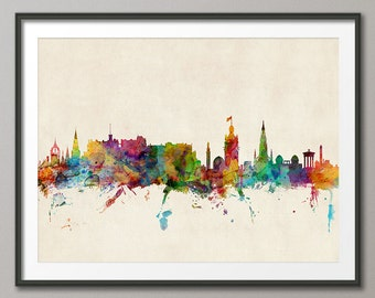 Edinburgh Skyline, Edinburgh Scotland Cityscape Art Print (578)