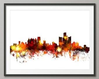 Detroit Skyline, Detroit Michigan Cityscape Art Print (1083)
