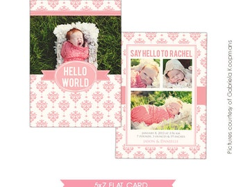 INSTANT DOWNLOAD - Birth announcement template- E479