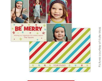 INSTANT DOWNLOAD -  Holiday Card Photoshop Template - Be merry - E110