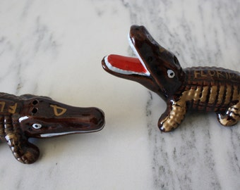Vintage Ceramic Alligator Salt and Pepper Shakers