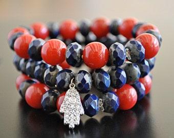 STERLING SILVER HAMSA stretchy bracelet set