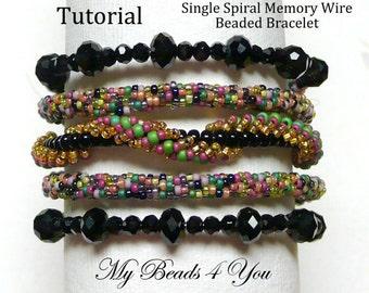 PDF Beading Tutorial,Seed Bead Bracelet Tutorial,Beadwoven Pattern,Memory Wire Bracelet, PDFSpiral Bracelet Pattern