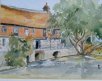 Vintage Art OOAK Painting Vintage Watercolor Painting Vintage Landscape Painting by Kathie Edwick