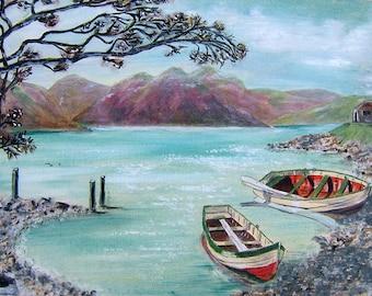 Vintage Art 1970s OOAK Painting Vintage Seascape Painting Vintage Oil Painting Vintage Acrylic Painting Vintage Landscape Painting