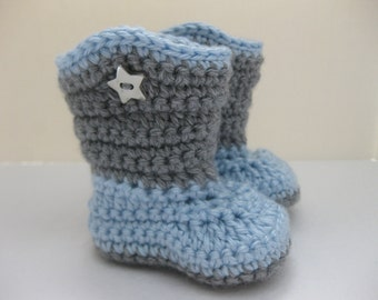 Baby Boy Boots / Shoes - Grey & Light Blue, Star - YOUR choice size - (newborn - 12 months) - photo prop - children