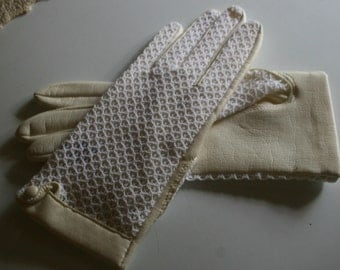 Vintage Faux Kid Leather and Crochet Wedding Gloves