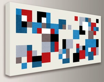 """Mid Century Modern Wall Art - Red and Blue - Panorama - Canvas Print - Colorful Squares on Cream  - Vintage Modern Wall Decor  - """"Hopscotch"""""""