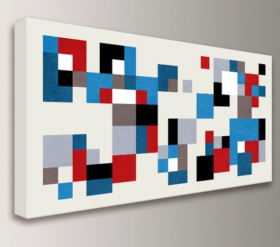 "Mid Century Modern Wall Art - Red and Blue - Panorama - Canvas Print - Colorful Squares on Cream  - Vintage Modern Wall Decor  - ""Hopscotch"""