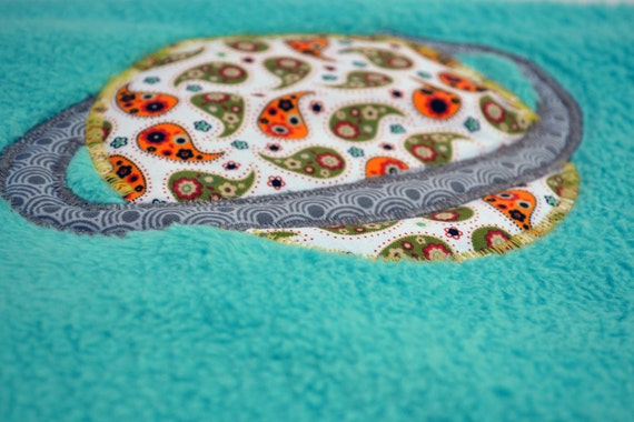 Rocket ships and outer space fleece baby blanket quilted for Outer space fleece