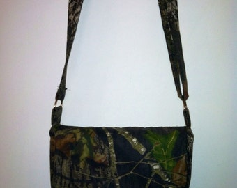 Camo Messenger Bag/Purse with Adjustable Strap - Your choice of lining color