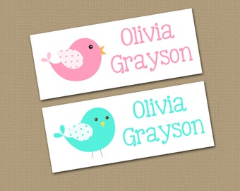Personalized Waterproof Label Stickers - Perfect for Bottles, Sippy Cups, Daycare, School - Dishwasher Safe - polka dot birdies - 067