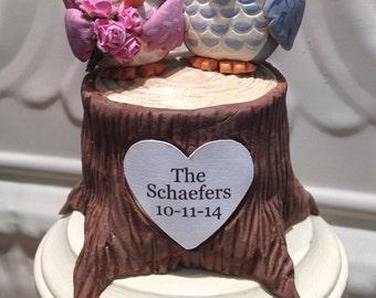 Woodland Owls Wedding Cake Topper -Custom Cake Topper - Woodland Wedding - Personalize with Names or Initials