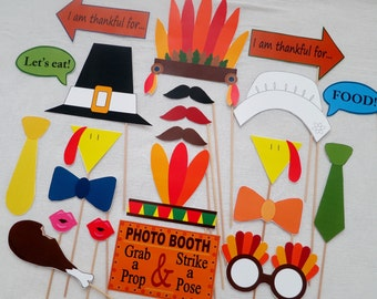 PDF - Thanksgiving Day Photo Booth Props - PRINTABLE DIY photobooth
