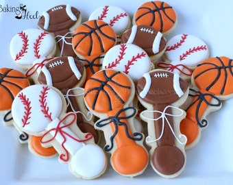 Sports Baby Rattle Decorated Cookies, Baby Rattle Cookies, baby cookies, It's A Boy Cookies, Baby Shower Cookies, 1st Birthday