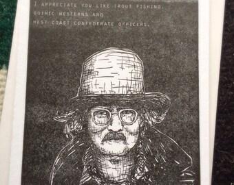 Richard Brautigan letterpress card
