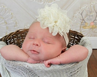 Ivory & Champagne Headband for Baby Girl -  Vintage Shabby Chic Style - Newborn Infant Baby Toddler Girls Adult Rustic Wedding
