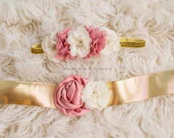 Sash & Headband Set Gold Ivory Dusty Rose Flower with Pearl Rhinestones Glitter Floral Crown - Baby Toddler Flower Girl Bridal Wedding
