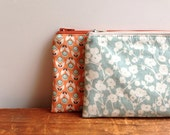 Sky Blue Floral Pencil Case, Zipper Pouch, Cosmetic Pouch
