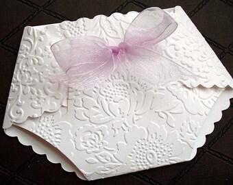 10 Rose Embossed Diaper  BABY SHOWER Invitations