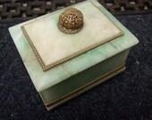 Art Deco Pale Mint Green Soap Stone Decorative Box