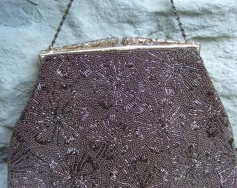 1960s Copper Glass Beaded Evening Bag
