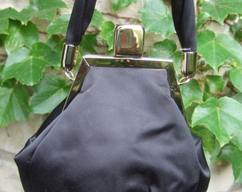 Elegant Black Satin Gold Trim Evening Bag