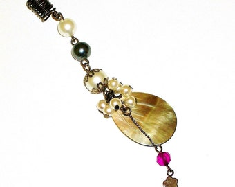 Dreadlock Jewelry - Teardrop Mother of Pearl Loc Jewel