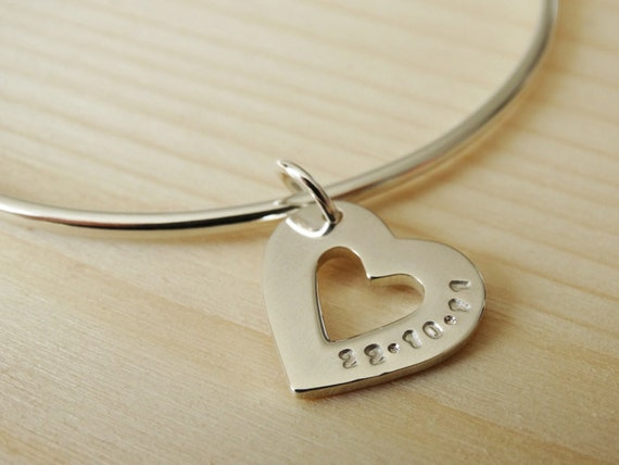 Personalised Silver Heart Bangle - Sterling Silver