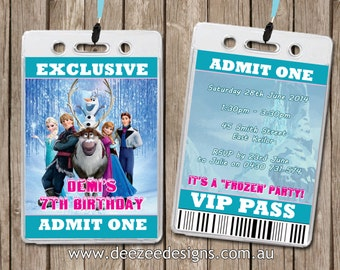 Personalised Frozen VIP Lanyard Invitations x 10