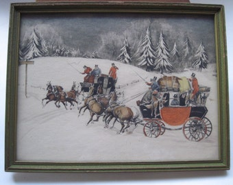 Vintage Framed Lithograph Winter Scene With Horse Drawn Carriage Wall Hanging