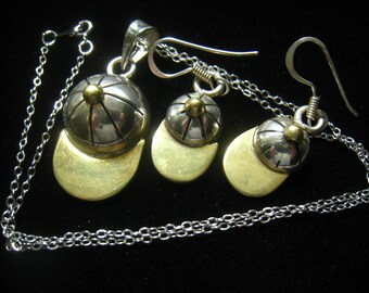 CLEARANCE Sterling Silver & Brass Vintage Mexican Made Jockey Cap Demi Parure of Necklace and Earrings.  Mid Century.